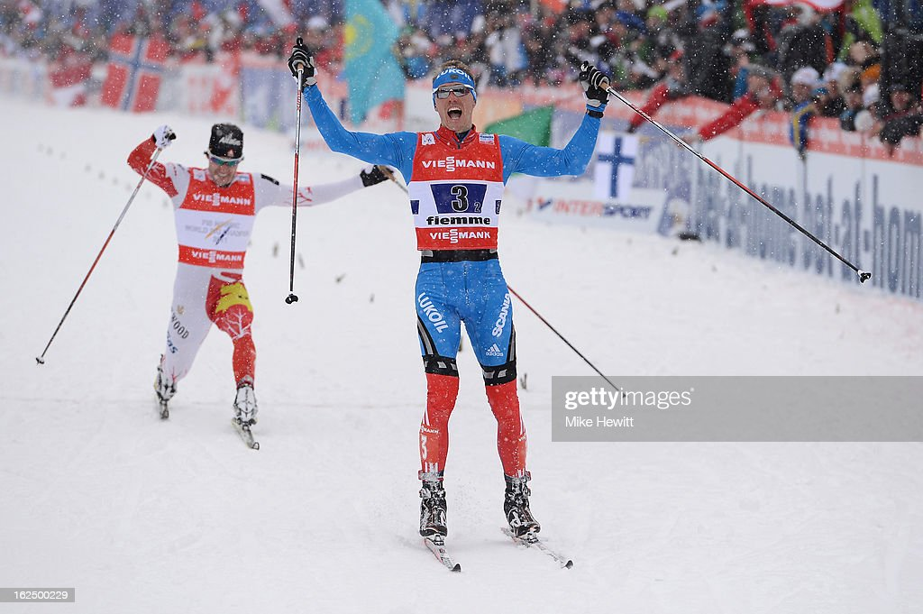 <a gi-track='captionPersonalityLinkClicked' href=/galleries/search?phrase=Nikita+Kriukov&family=editorial&specificpeople=4907513 ng-click='$event.stopPropagation()'>Nikita Kriukov</a> of Russia celebrates victory in the Men's Team Sprint Final at the FIS Nordic World Ski Championships on February 24, 2013 in Val di Fiemme, Italy.