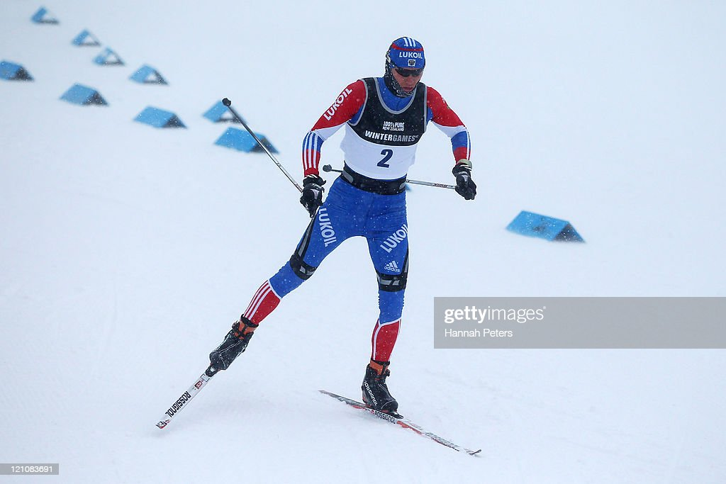 <a gi-track='captionPersonalityLinkClicked' href=/galleries/search?phrase=Nikita+Kriukov&family=editorial&specificpeople=4907513 ng-click='$event.stopPropagation()'>Nikita Kriukov</a> of Russia competes in the Cross Country Sprint prologue during day two of the Winter Games NZ at Snow Farm on August 14, 2011 in Wanaka, New Zealand.