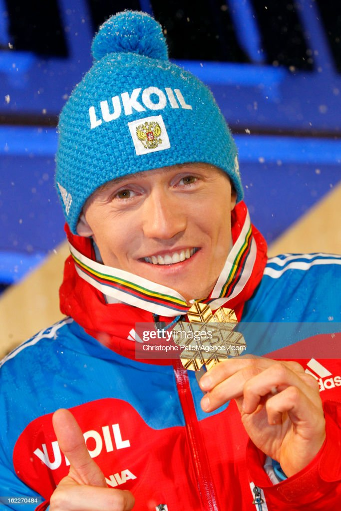 <a gi-track='captionPersonalityLinkClicked' href=/galleries/search?phrase=Nikita+Kriukov&family=editorial&specificpeople=4907513 ng-click='$event.stopPropagation()'>Nikita Kriukov</a> of Russia takes the gold medal during the FIS Nordic World Ski Championships Men's Sprint on February 21, 2013 in Val di Fiemme, Italy.