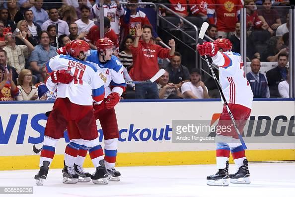 Nikita Kucherov celebrates with Nikolay Kulemin Evgeni Malkin and Alexei Emelin of Team Russia after scoring a second period goal on Team North...