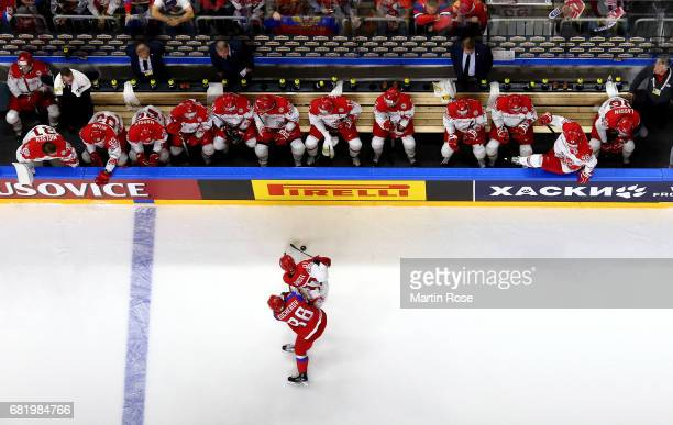 Nikita Kucherov of Russia challenges Jesper Jensen of Denmark for the puck during the 2017 IIHF Ice Hockey World Championship game between Russia and...