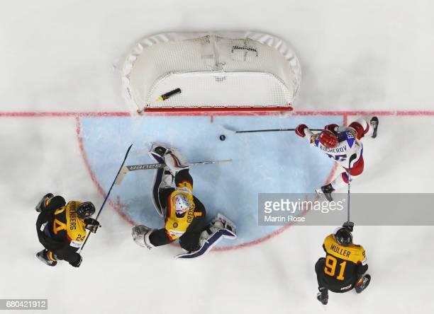 Nikita Kucherov of Russia scores his goal during the 2017 IIHF Ice Hockey World Championship game between Germany and Russia at Lanxess Arena on May...