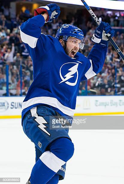 Nikita Kucherov of the Tampa Bay Lightning celebrates a goal against the Ottawa Senators during first period at the Amalie Arena on December 10 2015...