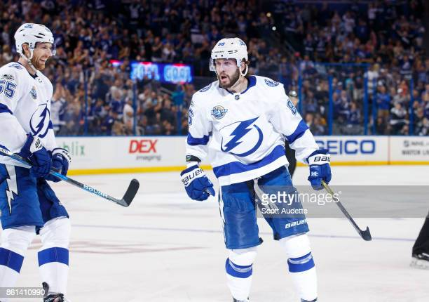 Nikita Kucherov of the Tampa Bay Lightning celebrates a goal against the St Louis Blues during the third period at Amalie Arena on October 14 2017 in...
