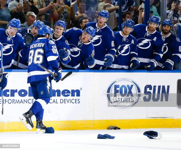 Nikita Kucherov of the Tampa Bay Lightning celebrates a goal and hat trick against the Ottawa Senators during the second period at Amalie Arena on...