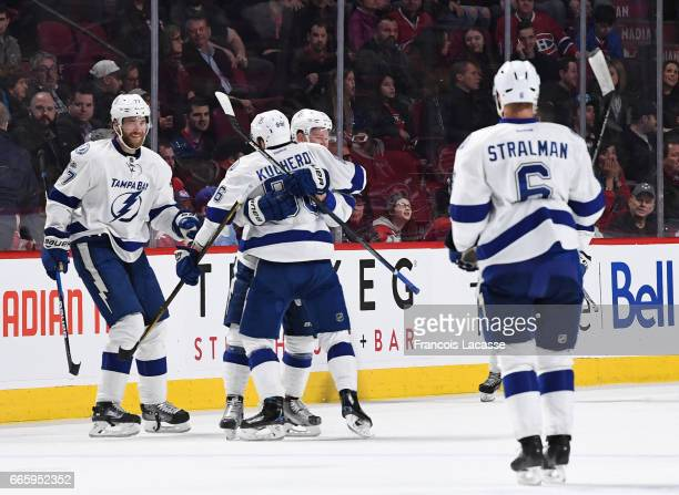 Nikita Kucherov of the Tampa Bay Lightning celebrates after scoring a goal againstthe Montreal Canadiens in the NHL game at the Bell Centre on April...