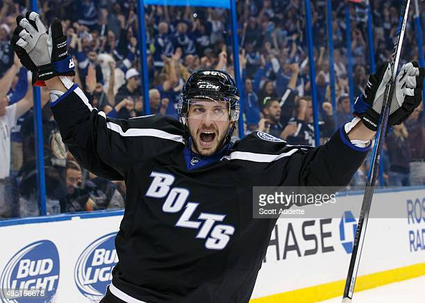 Nikita Kucherov of the Tampa Bay Lightning celebrates his goal against the Boston Bruins during first period at the Amalie Arena on October 31 2015...