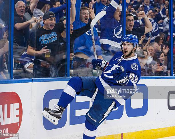 Nikita Kucherov of the Tampa Bay Lightning celebrates his goal against the Detroit Red Wings during the third period at the Amalie Arena on February...