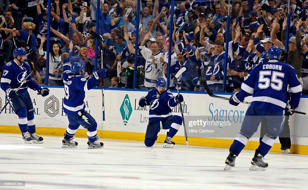 Nikita Kucherov #86 of the Tampa Bay Lightning celebrates his goal against the New York Islanders with Alex Killorn #17, Tyler Johnson #9 and Braydon Coburn #55 during the third period of Game Five of the Eastern Conference Second Round during the 2016 NHL Stanley Cup Playoffs at Amalie Arena on May 8, 2016 in Tampa, Florida.