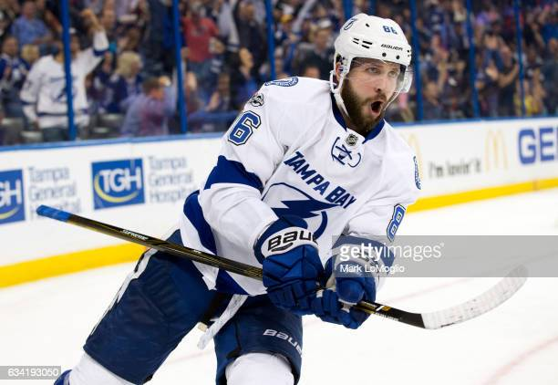 Nikita Kucherov of the Tampa Bay Lightning celebrates his goal against the Los Angeles Kings during the second period at Amalie Arena on February 7...