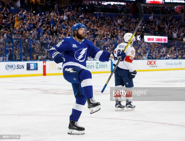 Nikita Kucherov of the Tampa Bay Lightning celebrates his goal against the Florida Panthers during the third period at Amalie Arena on October 6 2017...