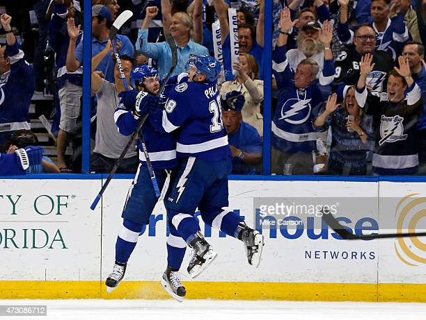 Nikita Kucherov of the Tampa Bay Lightning celebrates his goal with Ondrej Palat against the Montreal Canadiens in Game Six of the Eastern Conference...