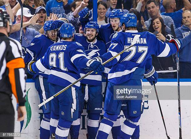 Nikita Kucherov of the Tampa Bay Lightning celebrates his goal with teammates against the New York Islanders during the first period at the Amalie...
