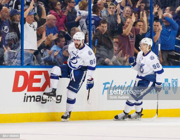 Nikita Kucherov of the Tampa Bay Lightning celebrates his goal with teammate Vladislav Namestnikov against the Los Angeles Kings during the second...