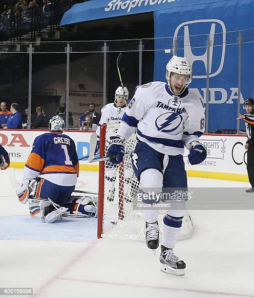 Nikita Kucherov of the Tampa Bay Lightning celebrates his second goal of the game on the powerplay at 1218 of the first period against the New York...