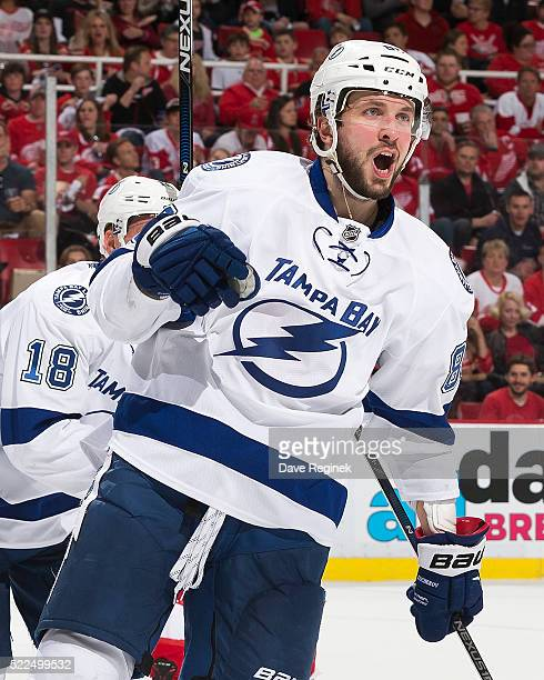 Nikita Kucherov of the Tampa Bay Lightning celebrates his second period goal in Game Four of the Eastern Conference First Round against the Detroit...