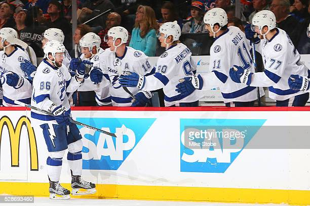 Nikita Kucherov of the Tampa Bay Lightning celebrates his third period goal against the New York Islanders in Game Four of the Eastern Conference...
