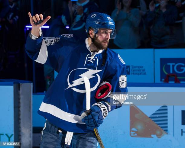 Nikita Kucherov of the Tampa Bay Lightning celebrates the win against the Minnesota Wild at Amalie Arena on March 9 2017 in Tampa Florida
