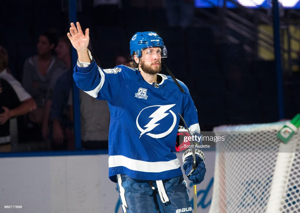 Nikita Kucherov #86 of the Tampa Bay Lightning celebrates the win against the Pittsburgh Penguins at Amalie Arena on October 12, 2017 in Tampa, Florida.