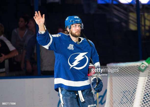 Nikita Kucherov of the Tampa Bay Lightning celebrates the win against the Pittsburgh Penguins at Amalie Arena on October 12 2017 in Tampa Florida