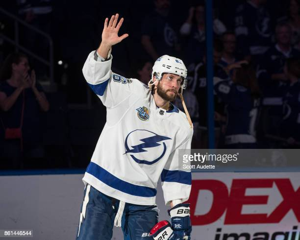 Nikita Kucherov of the Tampa Bay Lightning celebrates the win against the St Louis Blues at Amalie Arena on October 14 2017 in Tampa Florida