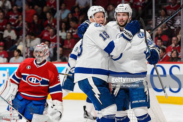 Nikita Kucherov of the Tampa Bay Lightning cerebrates his goal with teammate Ondrej Palat in Game Two of the Eastern Conference Semifinals against...