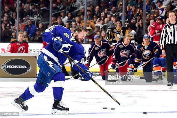 Nikita Kucherov of the Tampa Bay Lightning competes in the Honda NHL Four Line Challenge during the 2017 Coors Light NHL AllStar Skills Competition...