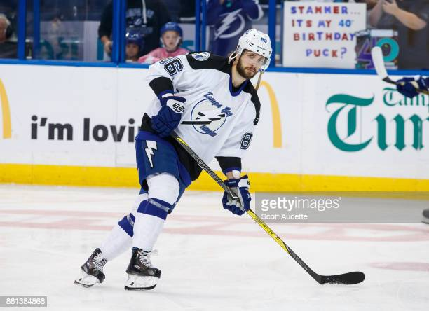Nikita Kucherov of the Tampa Bay Lightning dons a 199293 home jersey for pregame warm ups against the St Louis Blues at Amalie Arena on October 14...