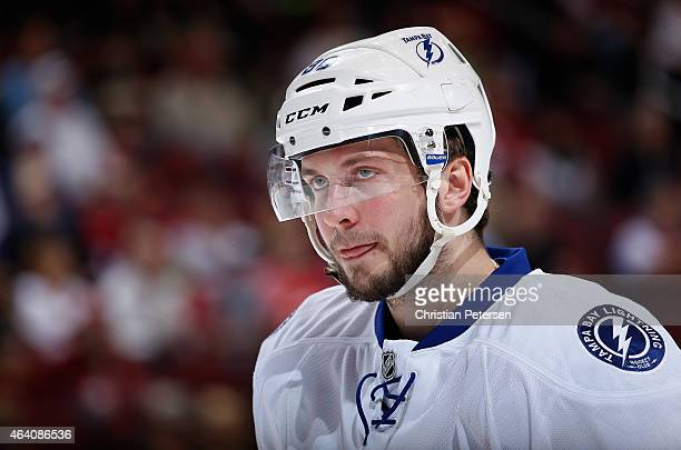Nikita Kucherov of the Tampa Bay Lightning during a break from the NHL game against the Arizona Coyotes at Gila River Arena on February 21 2015 in...