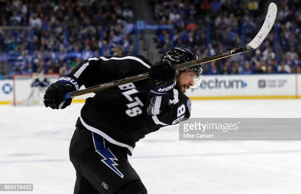 Nikita Kucherov of the Tampa Bay Lightning follow through on a shot against the Toronto Maple Leafs during the second period at the Amalie Arena on...