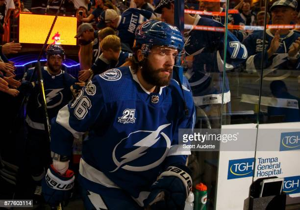 Nikita Kucherov of the Tampa Bay Lightning gets ready for the game against the Chicago Blackhawks at Amalie Arena on November 22 2017 in Tampa Florida