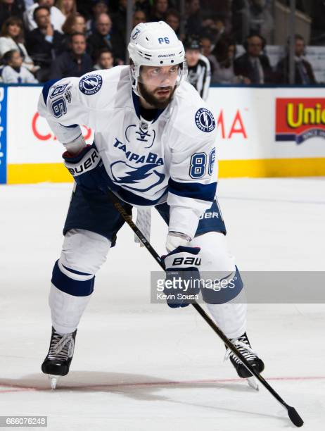 Nikita Kucherov of the Tampa Bay Lightning gets set for a faceoff against the Toronto Maple Leafs during the first period at the Air Canada Centre on...