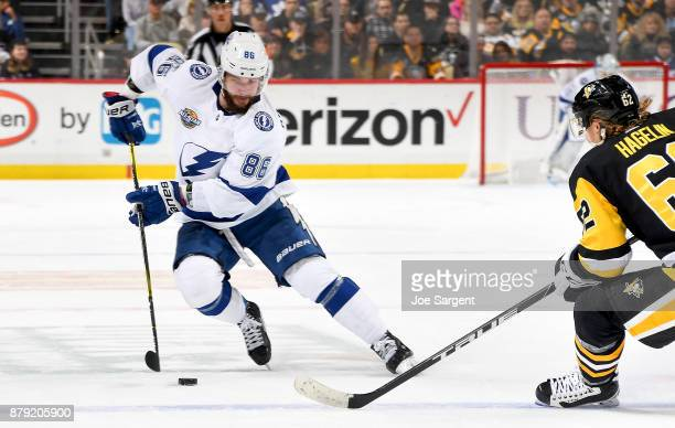 Nikita Kucherov of the Tampa Bay Lightning handles the puck against the Pittsburgh Penguins at PPG Paints Arena on November 25 2017 in Pittsburgh...