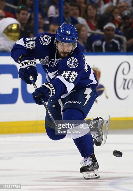 Nikita Kucherov of the Tampa Bay Lightning hits the puck against the Chicago Blackhawks during the second period of Game Two of the 2015 NHL Stanley...