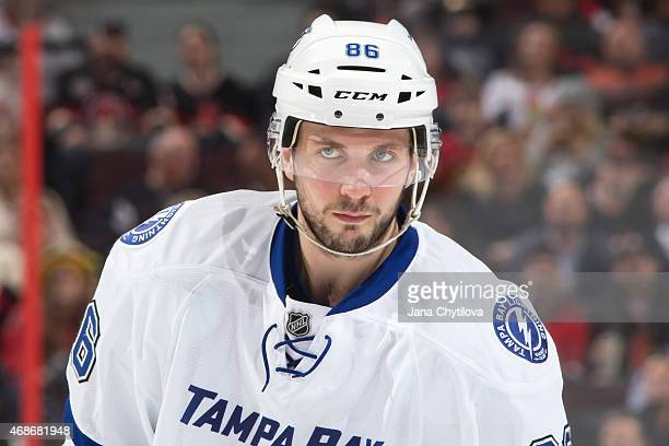 Nikita Kucherov of the Tampa Bay Lightning looks on during an NHL game against the Ottawa Senators at Canadian Tire Centre on April 2 2015 in Ottawa...