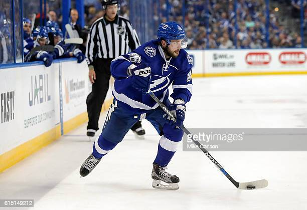 Nikita Kucherov of the Tampa Bay Lightning looks to pass against Detroit Red Wings during a game at the Amalie Arena on October 13 2016 in Tampa...