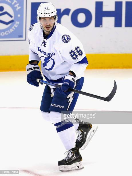 Nikita Kucherov of the Tampa Bay Lightning plays in the game against the New York Islanders at Nassau Veterans Memorial Coliseum on November 18 2014...