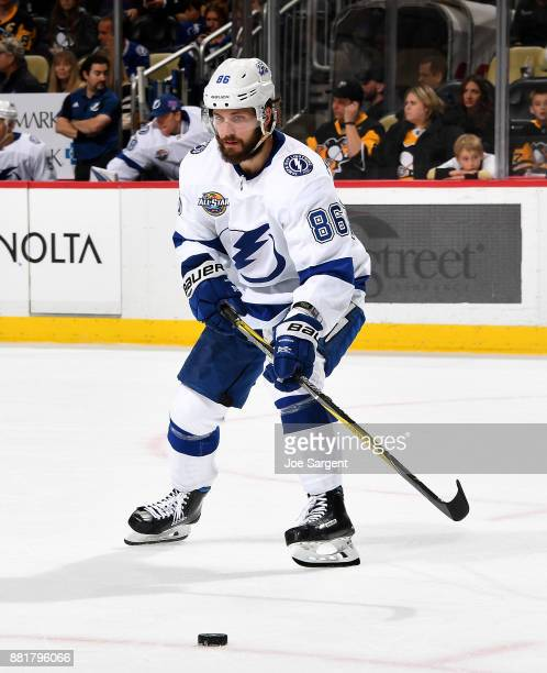 Nikita Kucherov of the Tampa Bay Lightning skates against the Pittsburgh Penguins at PPG Paints Arena on November 25 2017 in Pittsburgh Pennsylvania