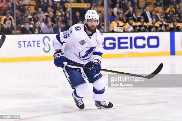 Nikita Kucherov of the Tampa Bay Lightning skates against the Boston Bruins at the TD Garden on November 29 2017 in Boston Massachusetts