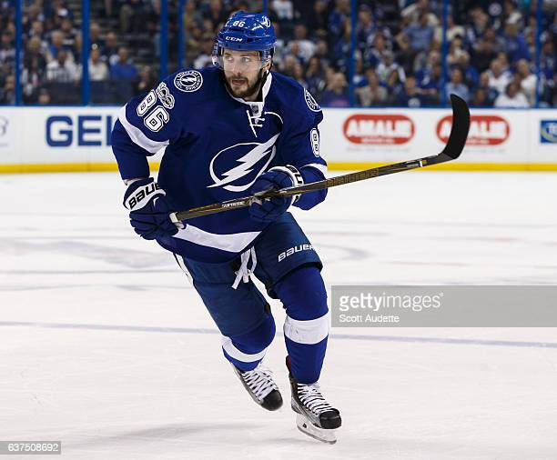 Nikita Kucherov of the Tampa Bay Lightning skates against the Winnipeg Jets during first period at Amalie Arena on January 3 2017 in Tampa Florida 'n