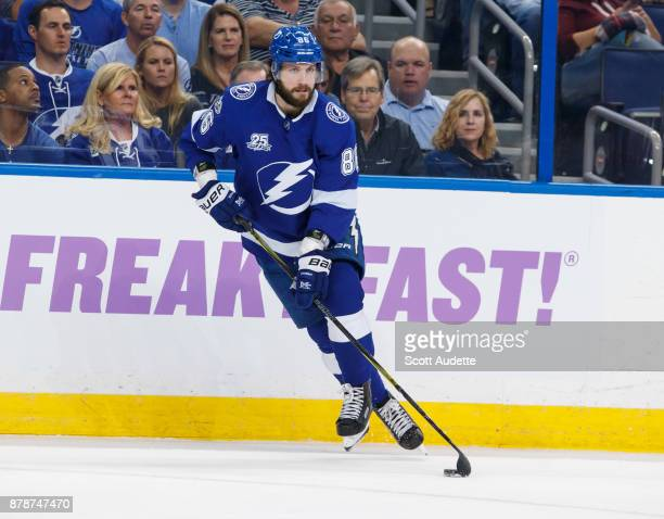 Nikita Kucherov of the Tampa Bay Lightning skates against the New York Rangers during the first period at Amalie Arena on November 2 2017 in Tampa...