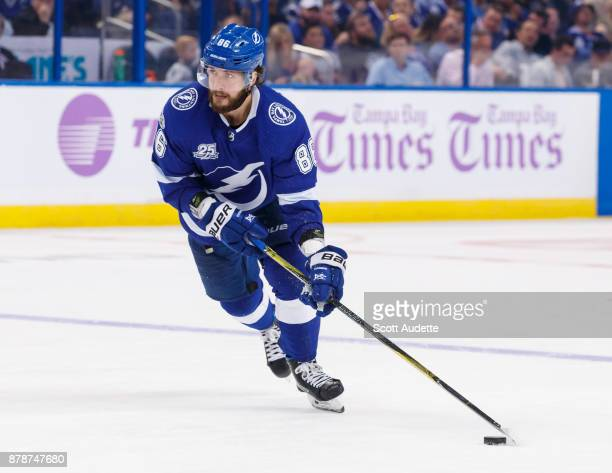 Nikita Kucherov of the Tampa Bay Lightning skates against the New York Rangers during the third period at Amalie Arena on November 2 2017 in Tampa...