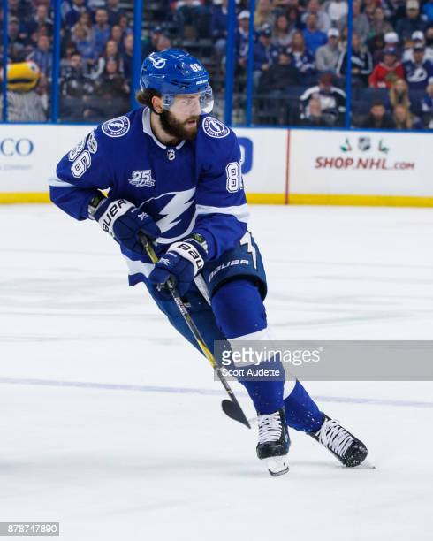 Nikita Kucherov of the Tampa Bay Lightning skates against the New York Islanders during the first period at Amalie Arena on November 18 2017 in Tampa...