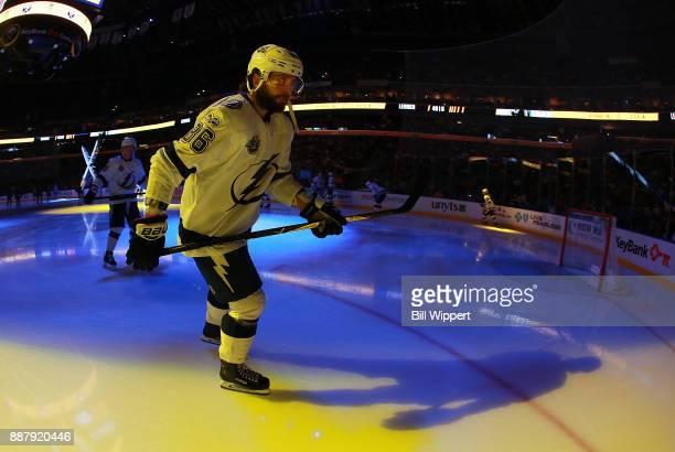Nikita Kucherov of the Tampa Bay Lightning skates before an NHL game against the Buffalo Sabres on November 28 2017 at KeyBank Center in Buffalo New...