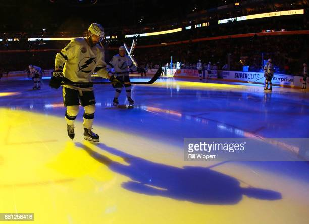 Nikita Kucherov of the Tampa Bay Lightning warms up before an NHL game against the Buffalo Sabres on November 28 2017 at KeyBank Center in Buffalo...