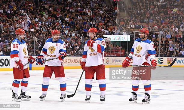 Nikita Kucherov Pavel Datsyuk Vladimir Tarasenko and Andrei Markov of Team Russia talk between whistles during the World Cup of Hockey 2016 at Air...