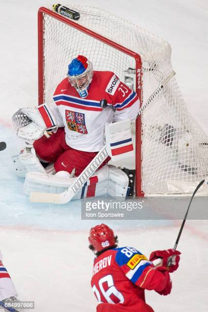 Nikita Kucherov scores a goal against Goalie Pavel Francouz during the Ice Hockey World Championship Quarterfinal between Russia and Czech Republic...