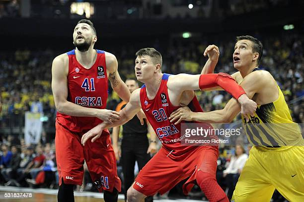 Nikita Kurbanov #41 of CSKA Moscow Andrey Vorontsevich #20 of CSKA Moscow and Bogdan Bogdanovic #13 of Fenerbahce Istanbul during the Turkish...