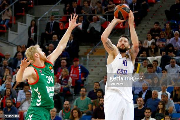 Nikita Kurbanov #41 of CSKA Moscow in action during the 2016/2017 Turkish Airlines EuroLeague Playoffs leg 3 game between Baskonia Vitoria Gasteiz v...