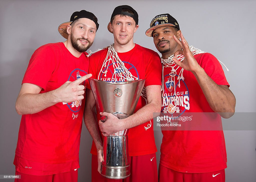 Nikita Kurbanov, #41 of CSKA Moscow; Victor Khryapa, #31 and Kyle Hines, #42 poses during the Turkish Airlines Euroleague Basketball Final Four Berlin 2016 Champion Photo Session at Mercedes Benz Arena on May 15, 2016 in Berlin, Germany.